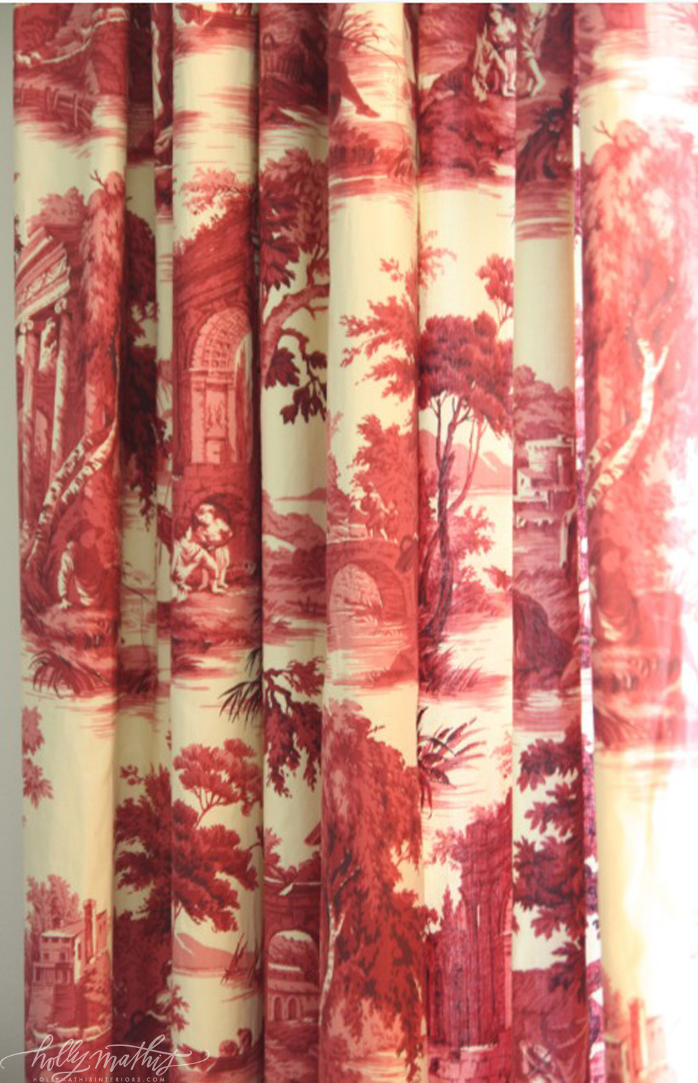 has tan buffalo check curtains red chair and toile curtains