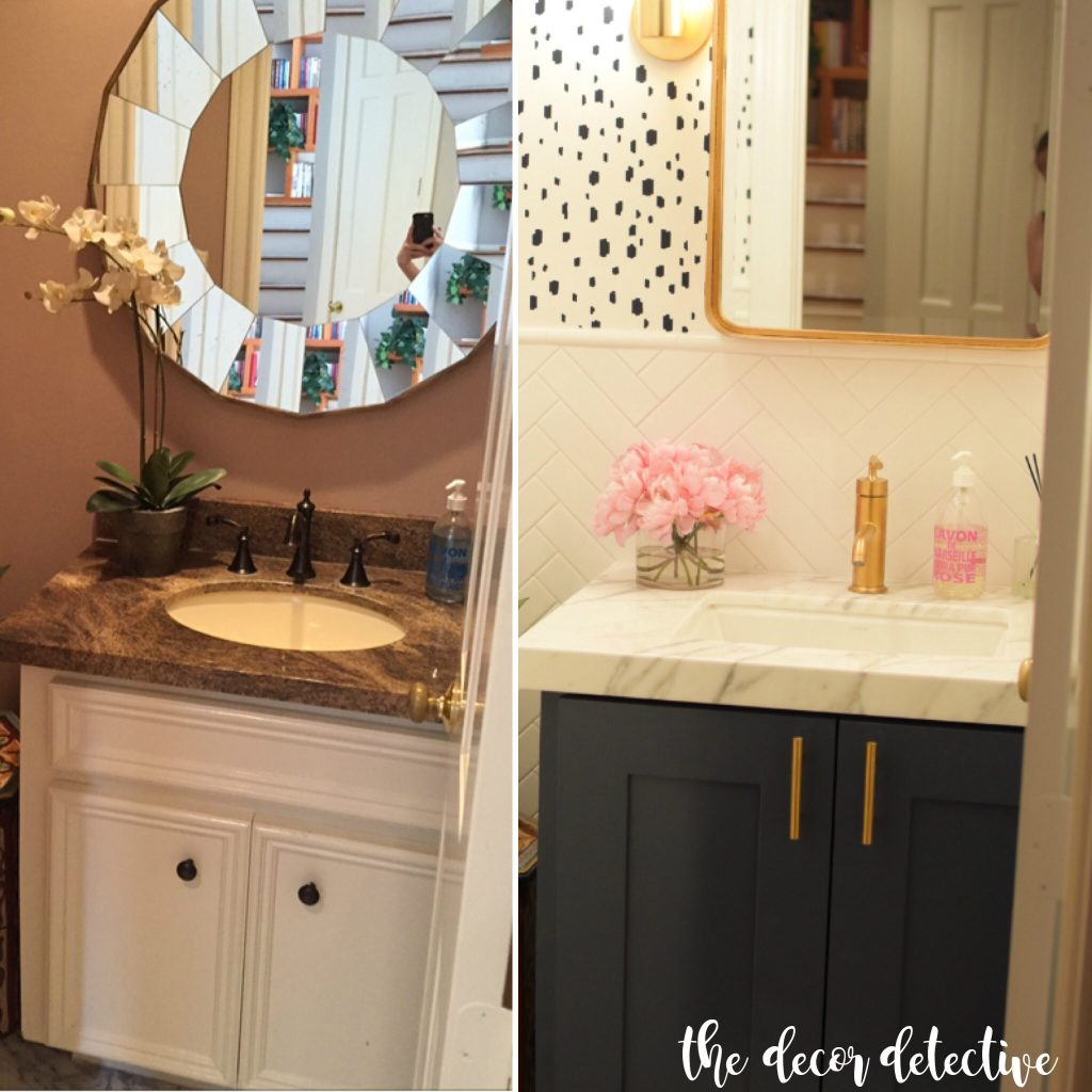 before and after powder room reno